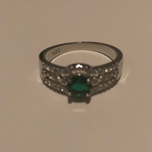 925 Silver Stamped Round Cut Emerald Ring Size 10